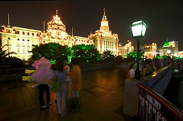 Illuminated buildings, the Bund, Huangpu River, Shanghai, China, Asia