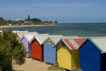 Bathing huts at the beach of St. Kilda, Melbourne, Victoria, Australia
