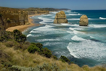 Great Ocean Road, cliffs and coastal landscape next to the Twelve Apostles, Southern Ocean, Victoria, Australia