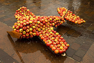 Plane modeled out of apples, Toulouse, Midi-Pyrenees, Haut-Garonne, France