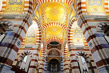 Ceiling mosaic in the Basilica Notre Dame de la Guarde, Marseilles, Provence-Alpes-Cote d'Azur, France