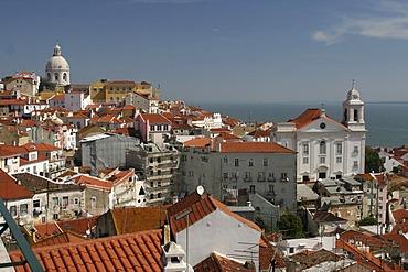 View over the Alfama district from Mirador de Santa Lucia, Lisbon, Regiao de Lisboa, Portugal, Europe