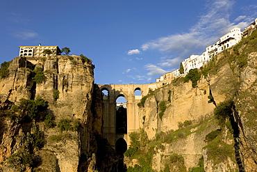 Historic centre and bridge over in Tajo River in Ronda, Andalusia, Spain, Europe