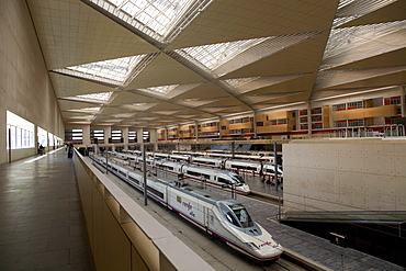 AVE high-speed train of the Spanish rail company Renfe in the Zaragoza-Delicias railway station, Zaragoza, Saragossa, Aragon, Spain