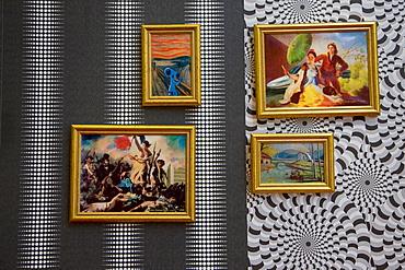 Paintings of mixed modern and ancient themes at the Centro de Historia de Zaragoza or Zaragoza History Centre, exhibition Zaragoza de Luxe - arqueologia pop, in Saragossa or Zaragoza, Aragon, Spain, Europe