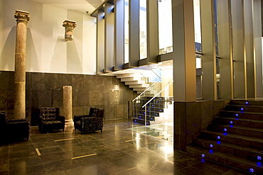 Lobby and staircase of the Hotel Silken Zentro, a designer hotel of the Hoteles Silken group, Saragossa or Zaragoza, Aragon, Spain, Europe