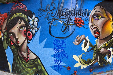 Las Magdalenas, graffiti art spray-painted onto a wall, wall mural, Zaragoza, Saragossa, Aragon, Spain