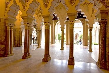 Ornate stone carved arched passageway of the Santa Isabel Patio, Palacio de Aljaferia palace, Moorish architecture, Zaragoza, Saragossa, Aragon, Spain