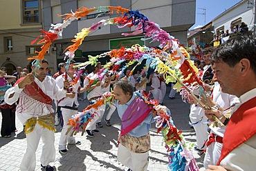 Danza de Arcos, Dance Beneath the Arches, fishermen and locals with down syndrome at the Fiesta del Virgen del Carmen, held on July 15 every year in Camarinas, La Coruna, Galicia, Spain, Europe