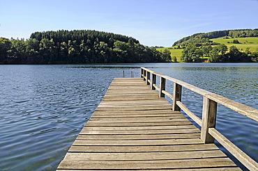 Jetty, Hunswinkel, Listertalsperre dam, reservoir, Olpe, Ebbegebirge nature park, Sauerland, North Rhine-Westphalia, Germany, Europe, PublicGround