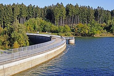 Dam with Bruchertalsperre Reservoir, Marienheide, Bergisches Land, North Rhine-Westphalia, Germany, Europe, PublicGround