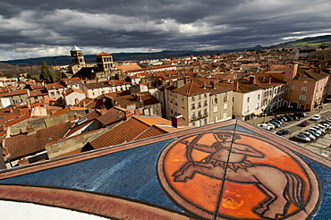 Overlooking Issoire with the Romanesque church of St. Austremoine, Auvergne, France, Europe