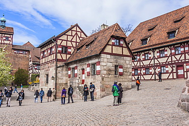 Castle courtyard and adjacent buildings, Imperial Castle, Nuremberg, Middle Franconia, Bavaria, Germany, Europe