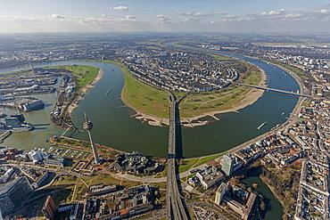 Aerial view, loop of the Rhine River, Oberkassel, Duesseldorf, Rhineland region, North Rhine-Westphalia, Germany, Europe