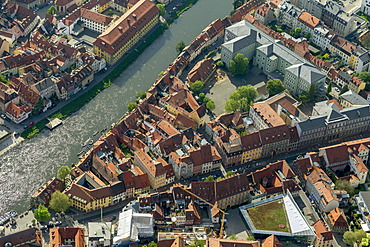 Aerial view, Bamberg Little Venice, Main river, Bamberg, Upper Franconia, Bavaria, Germany, Europe