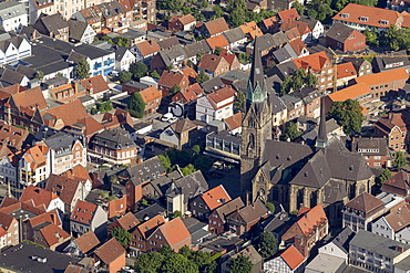 Aerial view, Town Hall, St. Mary's Church, St. Bartholomew, Ahlen, Ruhr area, North Rhine-Westphalia, Germany, Europe