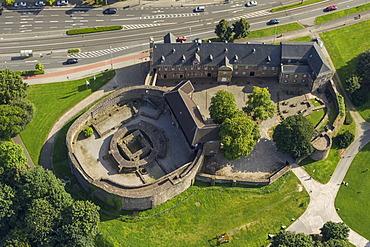 Aerial view, Broich castle ruins and Broich castle, Muelheim an der Ruhr, Ruhr region, North Rhine-Westphalia, Germany, Europe
