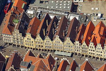 Aerial view, Prinzipalmarkt square, a historic merchant street, Muenster, Muenster region, North Rhine-Westphalia, Germany, Europe