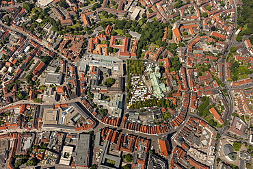 Aerial view, city centre of Muenster, Muenster region, North Rhine-Westphalia, Germany, Europe