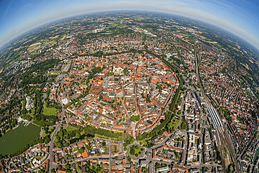 Aerial view, Muenster, Muenster region, North Rhine-Westphalia, Germany, Europe