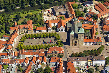 Aerial view, Gymnasium Carolinum, St. Peter's Cathedral, Osnabrueck, Lower Saxony, Germany, Europe