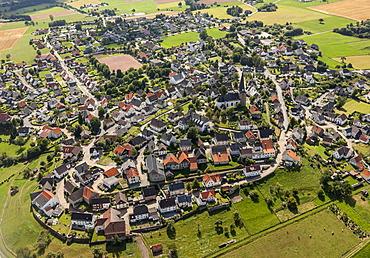 Aerial view, Kallenhardt, Ruethen, Sauerland, North Rhine-Westphalia, Germany, Europe