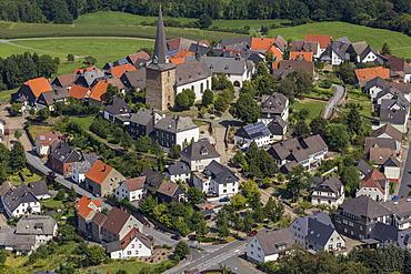 Aerial view, Catholic Church of St. Clement, Kallenhardt, Ruethen, Sauerland, North Rhine-Westphalia, Germany, Europe
