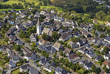 Aerial view, Hirschberg with St. Christopher's Church, Warstein, Sauerland, North Rhine-Westphalia, Germany, Europe