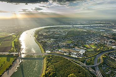Aerial view, Fleher bridge across the Rhine river, Duesseldorf, Rhineland region, North Rhine-Westphalia, Germany, Europe