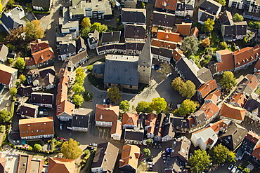 Aerial view, historic district of Hatting, St. George, Altstadtring, Hattingen, Ruhr area, North Rhine-Westphalia, Germany, Europe