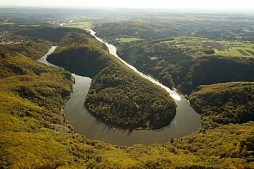 Aerial view, Saarschleife Mettlach Saar river bend, Saarland, autumn, Mettlach, Saarland, Germany, Europe