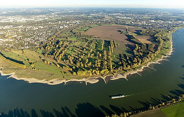 Aerial view, Urdenbach, Rheinbogen, a bend in the Rhine River, Duesseldorf, Lower Rhine, North Rhine-Westphalia, Germany, Europe