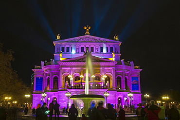 Alte Oper, Old Opera House, with Lucae Fountain, front view, brightly lit, during the Luminale 2012, Frankfurt am Main, Hesse, Germany, Europe, PublicGround