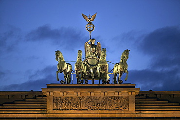 Brandenburg Gate, Quadriga, at dusk, Berlin, Germany, Europe
