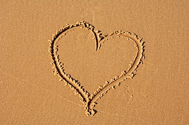Heart drawn in sand on the beach, Castricum aan Zee, North Holland, Netherlands, Europe