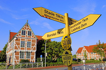 Signpost in front of the town hall in Jork, Altes Land region, Lower Saxony, Germany, Europe