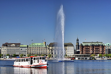 Lake Binnenalster, Inner Alster Lake, pleasure boat, Hamburg, Germany, Europe