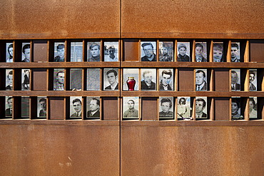 Pictures of victims of the Wall, Berlin Wall Memorial, Bernauer Strasse street, Mitte quarter, Berlin, Germany, Europe