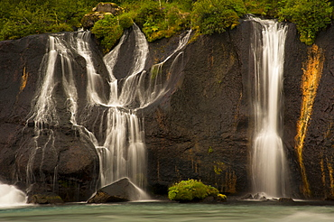 Waterfalls of Hraunfossar on the Hvita River, Vesturland, West Iceland, Iceland, Europe