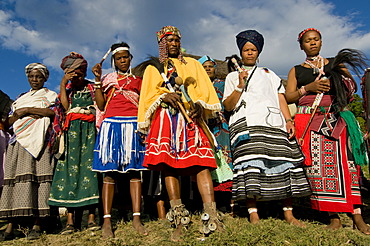 Traditionally dressed Xhosa people, during the Sangoma or Witchdoctor Festival, Wild Coast, Eastern Cape, South Africa, Africa