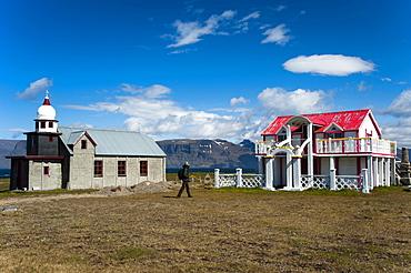 Church and house built by Samuel Jonsson, village of Selardalur, Arnarfjoerdur fjord, Westfjords, Iceland, Europe