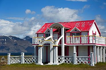 House built by Samuel Jonsson, village of Selardalur, Arnarfjoerdur fjord, Westfjords, Iceland, Europe