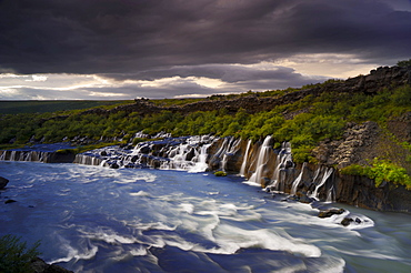 Hraunfossar waterfalls on Hvita river, Vesturland, western Iceland, Iceland, Europe