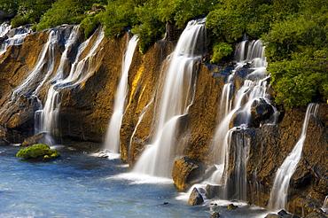 Hraunfossar waterfalls on Hvita river, Vesturland, western Iceland, Iceland, Europe