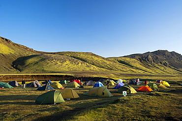 Alftavatn campground, mountains covered with moss on the Laugavegur hiking trail, Hrafntinnusker-Alftavatn, Myrdalsjoekull glacier at the back, Fjallabak Nature Reserve, Highlands of Iceland, Iceland, Europe