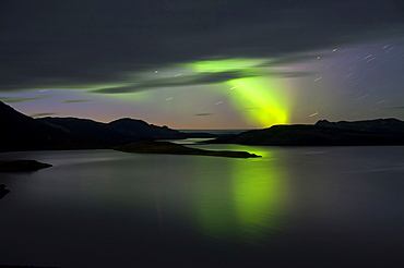 Northern Lights or aurora borealis above Lake Langisjor, Highland, Iceland, Europe