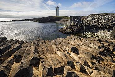 K√°lfshamar or K√°lfshamarsviti Lighthouse, basalt rocks, Skagi Peninsula, Nor√∞urland vestra, Northwest Iceland, Iceland, Europe