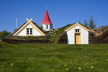 Church and turf farmhouse or Glaumbær Peat Museum, Skagi Peninsula, Norðurland vestra, Northwest Iceland, Iceland, Europe