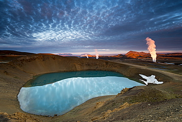 Krafla volcano on lake Viti, steam from a geothermal power plant, Myvatn area, Nordurland eystra, north-east region, Iceland, Europe
