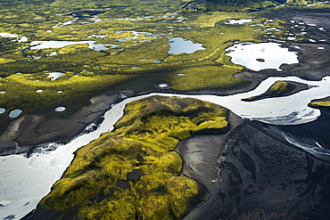 Aerial view, glacial river of Skafta, moss-covered mountains, Langisjor region, Icelandic Highlands, Iceland, Europe
